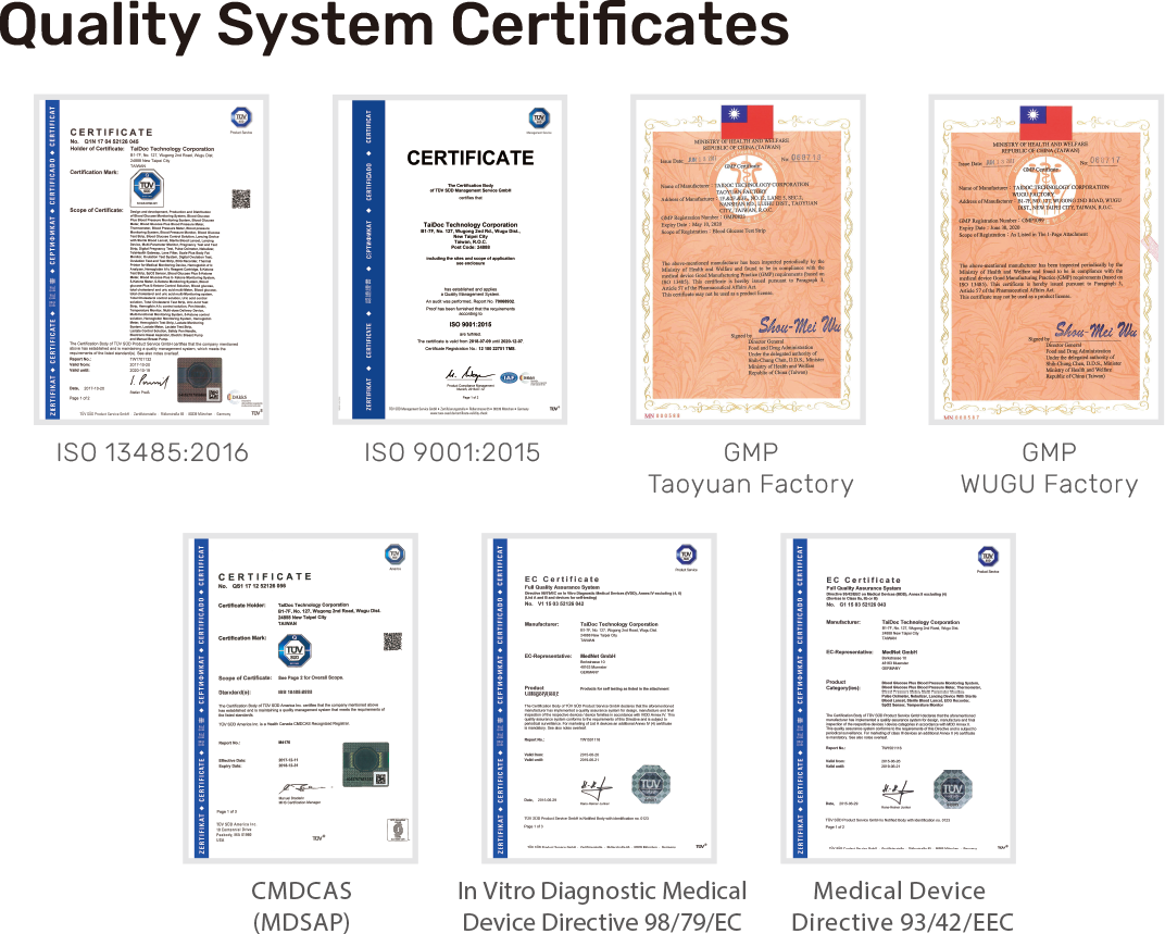 As a declaration of our commitment to quality, URiGHT has implemented the Total Quality Control System throughout the company, and established Quality System Control Center, which is world class quality assured by ISO 9001: 2015, medical standard ISO 13485: 2016, Taiwan QMS, MDSAP (USA, Canada, Brazil, Australia, Japan), Medical Device Directive 93/42/EEC, (EU)2017/745 Medical Device Regulation and In Vitro Diagnostic Medical Device Directive 98/79/EC